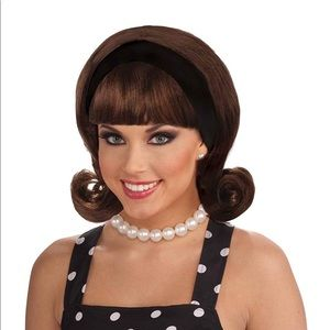 50's Retro Style costume wig Brown